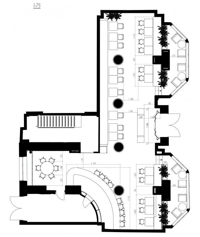 План размещения 1 этажа. Ресторан современной мексиканской кухни tacobar