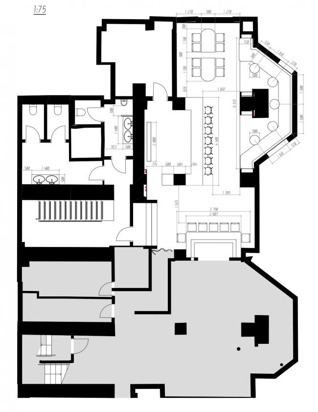 План размещения мебели и оборудования -1 этаж. Ресторан современной мексиканской кухни tacobar