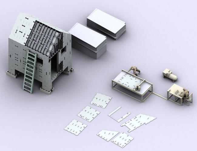 """Макет Сборного домика для Нового Орлеана, 2008 г. Площадь: 35 кв.м. Лоренс Сасс, США """"С доставкой на дом: изготовление современного жилища"""", MoMA, 2008г."""