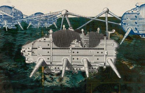 "Рон Херрон, Архигрэм ""Шагающий город по океану"" 1964 г. из серии ""Шагающих городов"" Ретроспектива: ""75 лет архитектуры в МоМА"", 2007 г."
