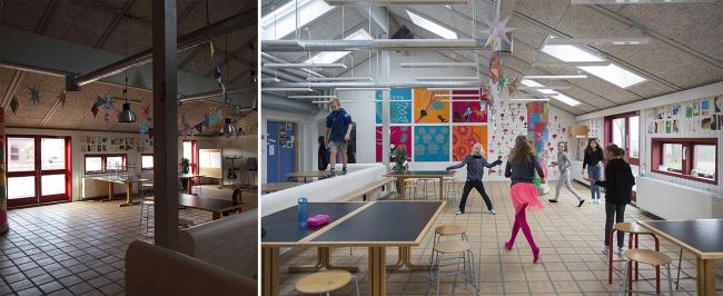 Школа Лангеберга, интерьер  до и после реконструкции