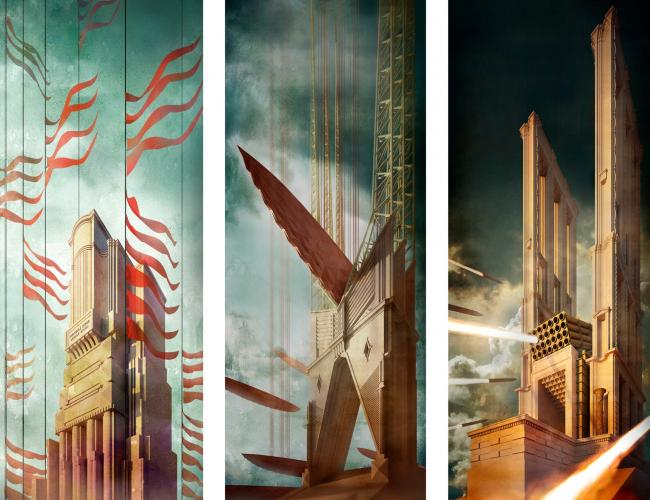 """The graphic triptych """"Immobile super mobile erigo"""". 2020"""