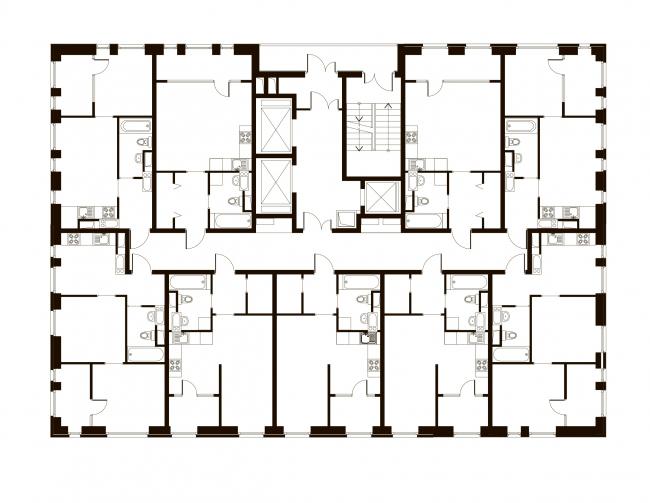 Корпус 7, план типового этажа. Жилой комплекс «Эдальго»