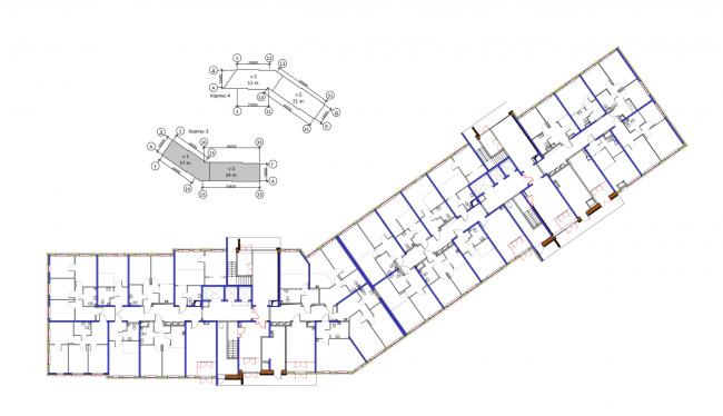 Корпус 3, план 1 этажа. Жилой комплекс «Новая звезда»
