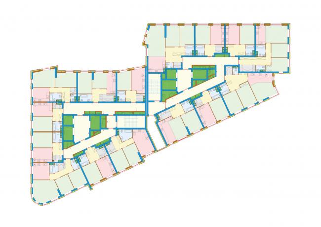 Бульвар Генерала Карбышева 7. План типового нижнего этажа. Жилой квартал «Юнион Парк»