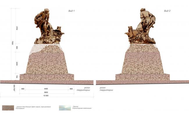 Фасадные решения скульптурной композиции. Памятный знак «Петр I, спасающий утопающих близ Лахты»
