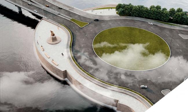 Вид со стороны  Приморского шоссе. Памятный знак «Петр I, спасающий утопающих близ Лахты»