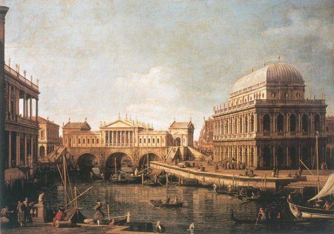 Каналетто. «Палладианский каприччо» (Вид нереализованного проекта моста Риальто в Венеции с вичентийской Базиликой и Палаццо Кьерикати)