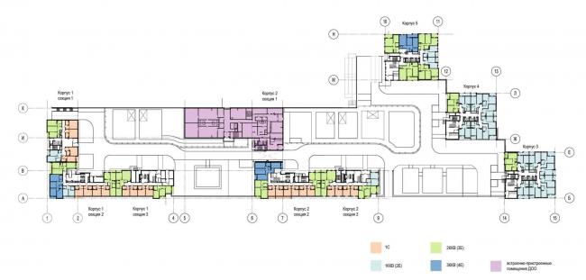 План 2 этажа. Многоквартирный дом