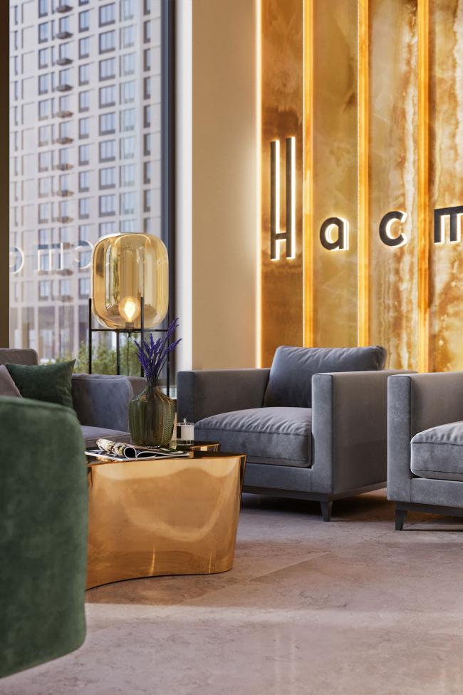 Интерьер лобби и типовых этажей ЖК «Настоящее»