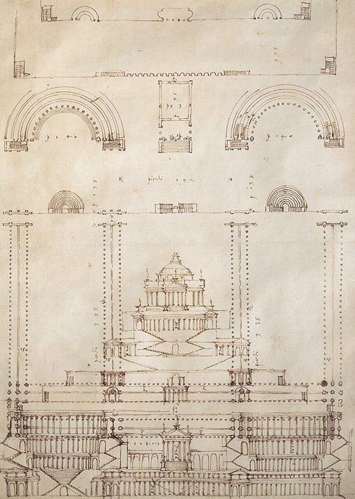 Андреа Палладио. Реконструкция храма в Палестрине. RIBA