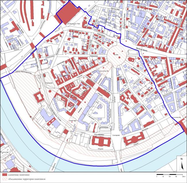 Район Иннере Нойштадт, карта памятников 2009, по материалам Управления культуры и охраны памятников города Дрездена (LH Dresden Amt für Kultur und Denkmalschutz)