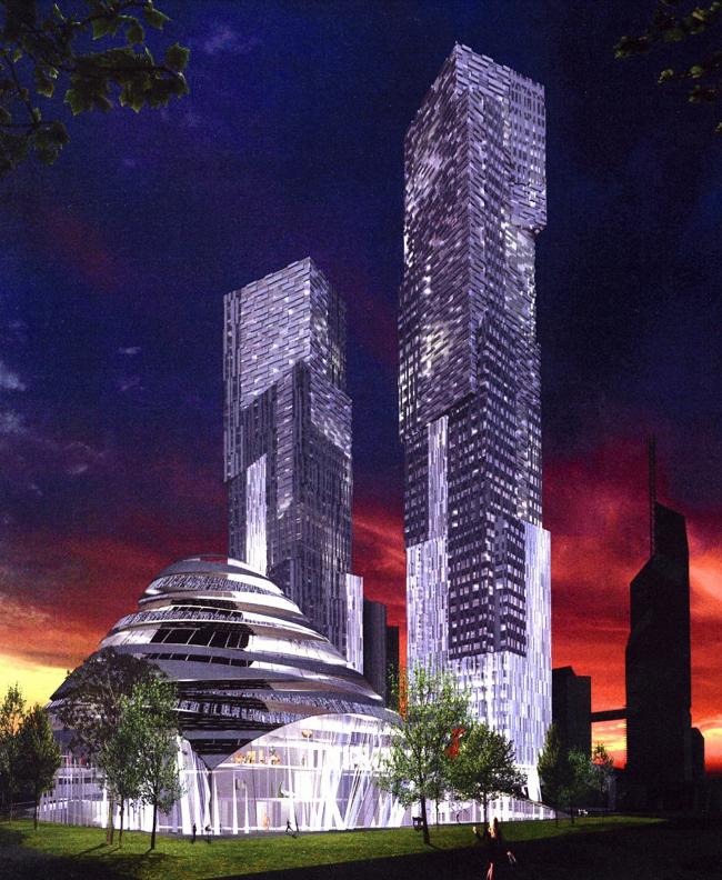 3-D визуализация концепции высотного комплекса «Город столиц» в составе ММДЦ «Москва-Сити». Проект EEA Architects