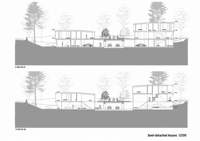 """Разрез по типовым домам и подземной дороге. Коттеджный поселок """"Барвиха-Hills"""". Архитектор Эрик ван Эгераат"""