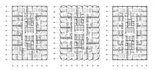 Symphony 34 housing complex. Plans of the towers A, B, C