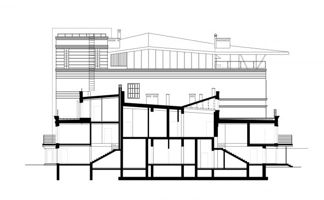 Разрез. Реновация заброшенной фабрики под частный жилой комплекс для компании «АМИЛКО» в городе Миллерово