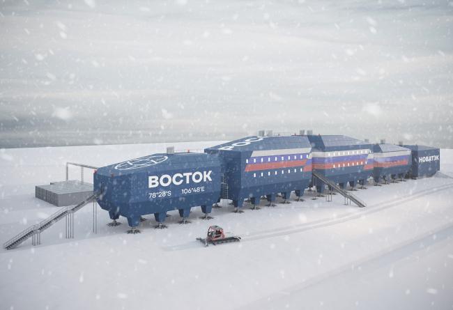 Главный фасад здания. Новый зимовочный комплекс антарктической станции «Восток»