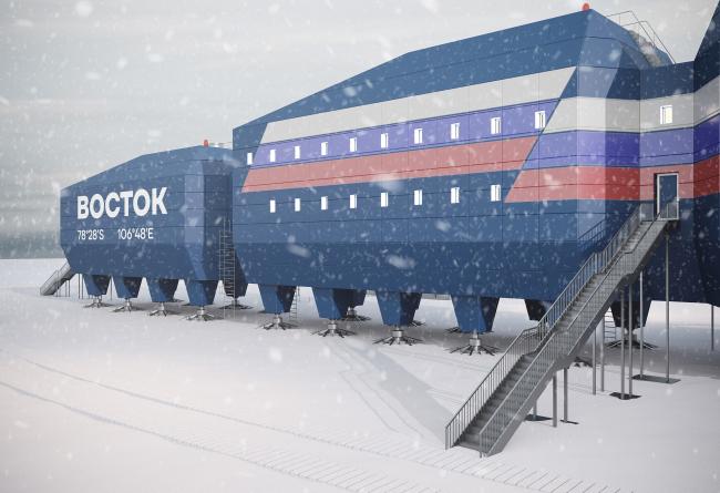 Вид на главный вход здания. Новый зимовочный комплекс антарктической станции «Восток»