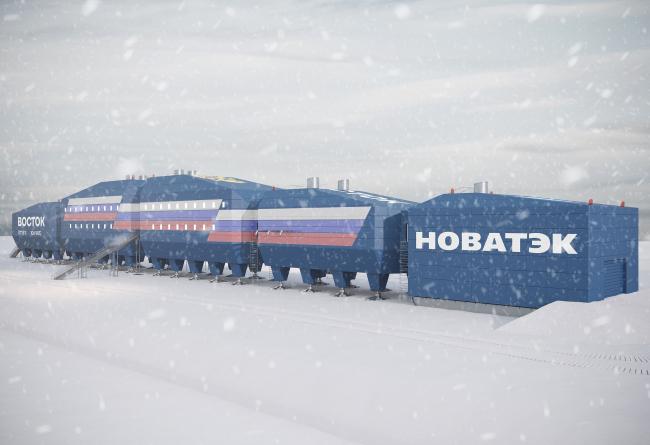 Вид главного фасада со стороны гаража. Новый зимовочный комплекс антарктической станции «Восток»