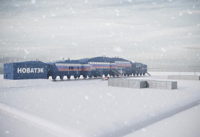 Вид со стороны складов. Новый зимовочный комплекс антарктической станции «Восток»