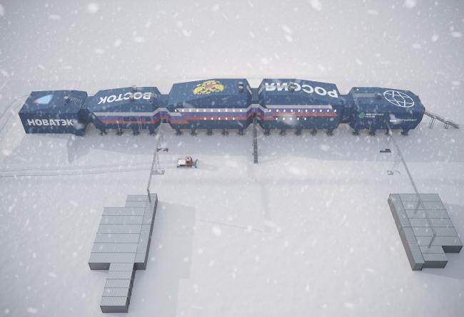 Вид сверху. Новый зимовочный комплекс антарктической станции «Восток»