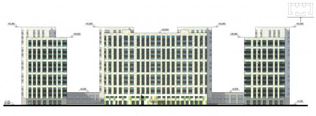 Фасады. Задний фасад. Жилой дом на Кондратьевском проспекте