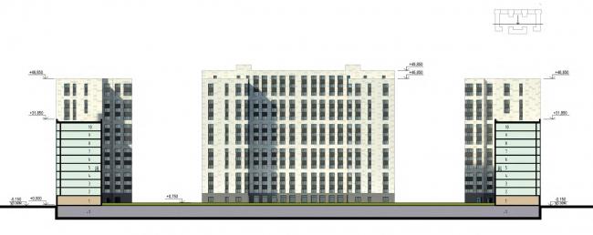 Фасады. Дворовый фасад. Жилой дом на Кондратьевском проспекте