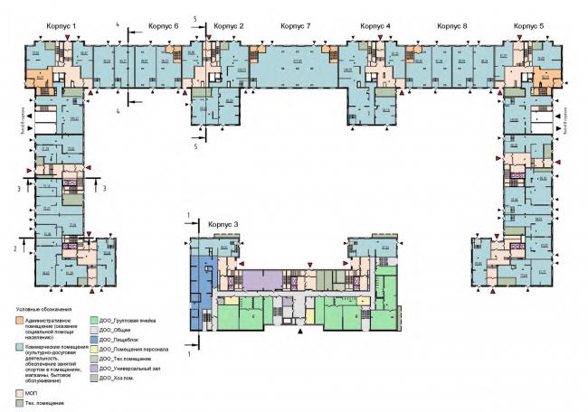 План 1 этажа, встроенные помещения. Жилой дом на Кондратьевском проспекте