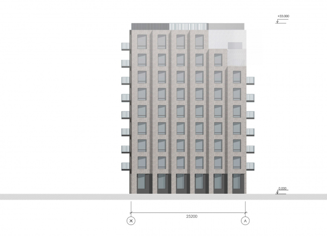 Фасад в осях Ж-А. Жилой дом на Гаванской улице