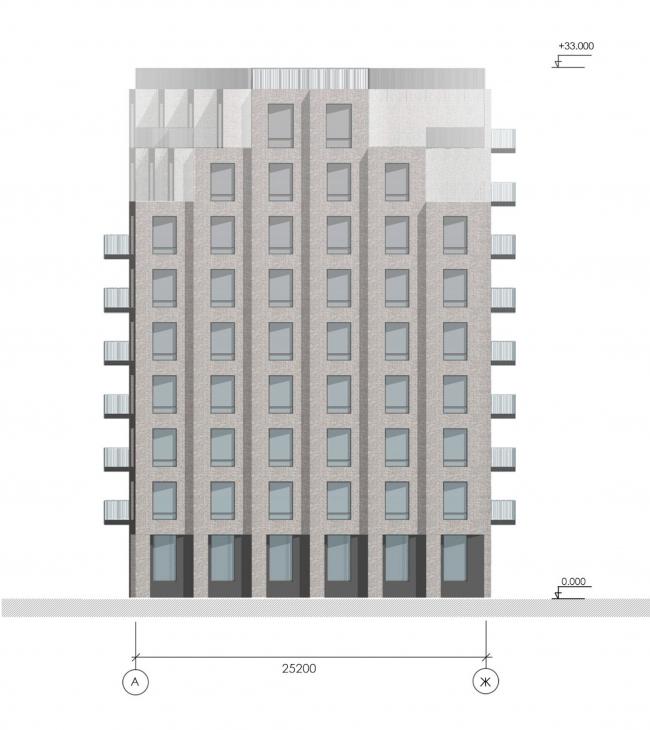 Фасад в осях А-Ж. Жилой дом на Гаванской улице