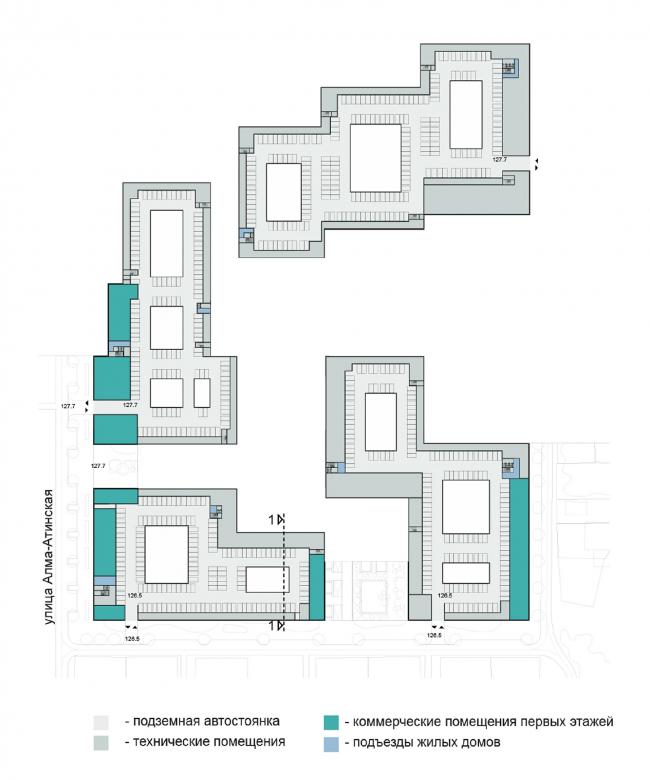 План -1 этажа: парковки, общественные функции и техпомещения. Концепция жилой застройки территории вблизи стадиона Арена в Самаре / конкурсный проект / 2020