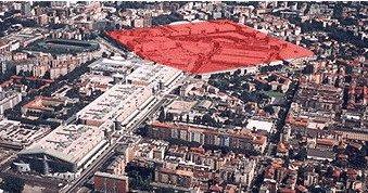 Вид центра Милана с районом будущего строительства