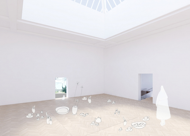 Проект реконструкции павильона России на биеннале в Венеции, 2020-2021. Выставочное пространство, центральный зал