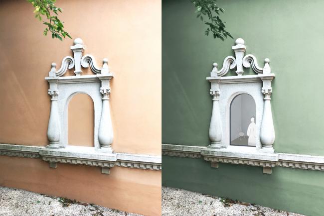 Проект реконструкции павильона России на биеннале в Венеции, 2020-2021. Окно, слева – до, справа после