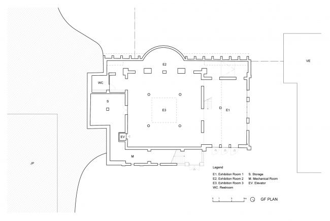 Проект реконструкции павильона России на биеннале в Венеции, 2020-2021.План первого этажа