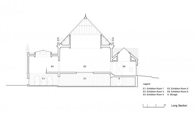 Проект реконструкции павильона России на биеннале в Венеции, 2020-2021. Продольный разрез