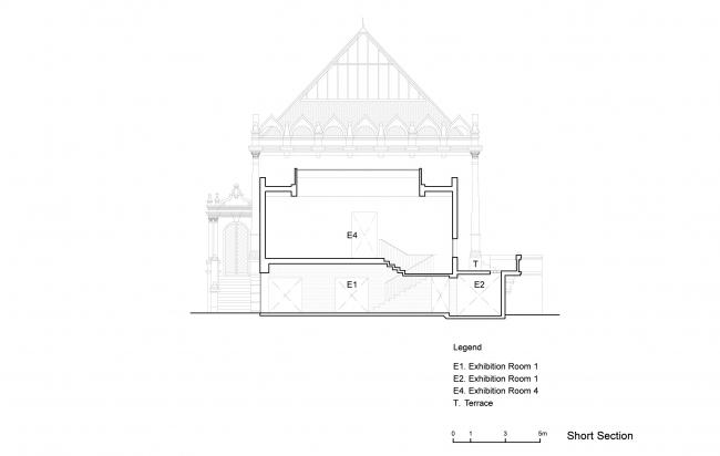Проект реконструкции павильона России на биеннале в Венеции, 2020-2021. Поперечный разрез