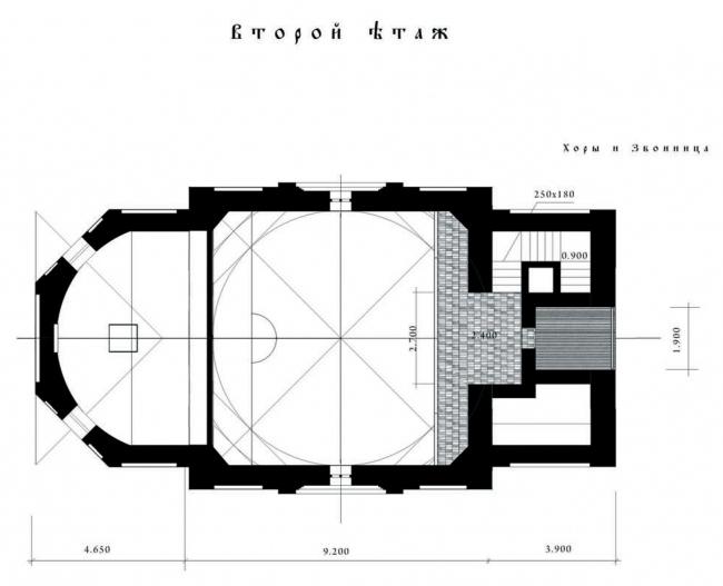 План по хорам. Храм Усекновения главы Иоанна Предтечи у Новодеичьего монастыря
