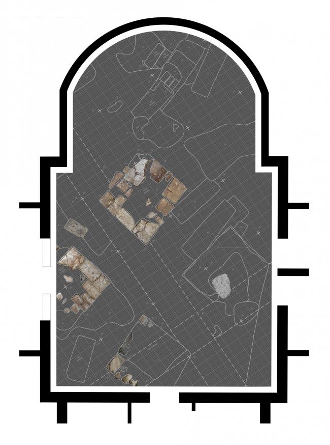План музеефицированных фрагментов и пола музейной экспозиции. Храм Усекновения главы Иоанна Предтечи у Новодеичьего монастыря