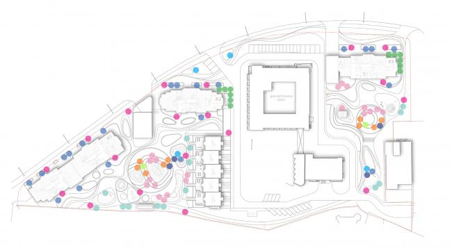 Схема расстановки малых архитектурных форма. Городские резиденции «Spires»