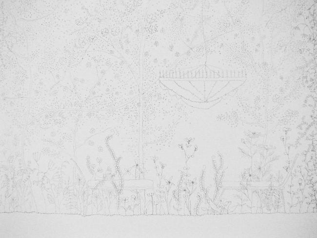 Нарисованные цветы - карандашом на белых стенах в павильоне Японии (там все белое, даже белый стул приклеен к полу и тоже покрыт рисунками)