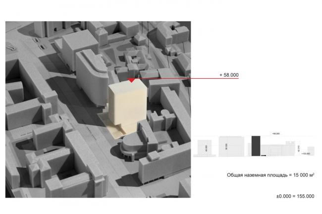 Многофункциональный комплекс на Мясницкой улице. Варианты объемно-планировочного решения SSA. Вариант 0