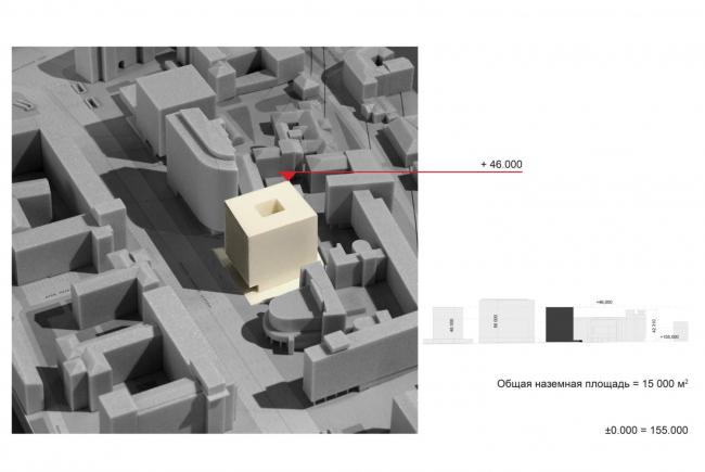 Многофункциональный комплекс на Мясницкой улице. Варианты объемно-планировочного решения SSA. Вариант 1