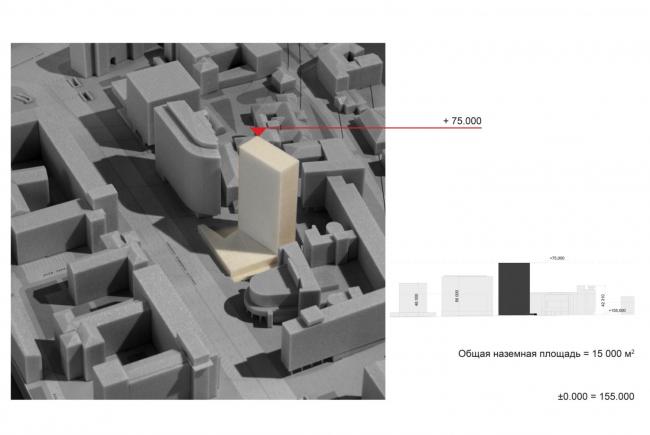 Многофункциональный комплекс на Мясницкой улице. Варианты объемно-планировочного решения SSA. Вариант 5