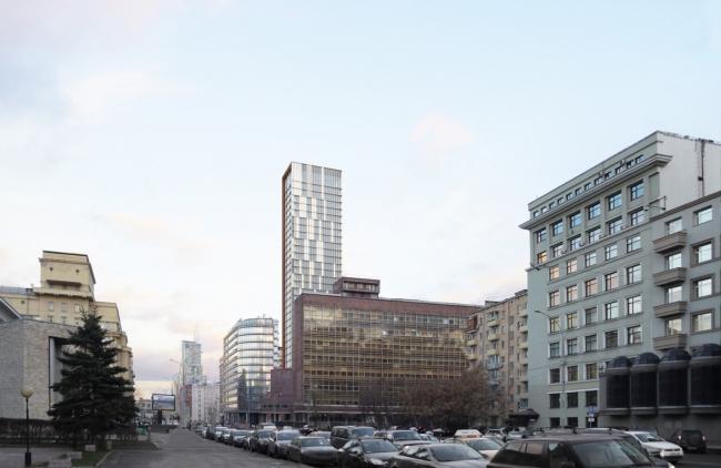 Многофункциональный комплекс на Мясницкой улице. Вид 2 с проспекта Академика Сахарова