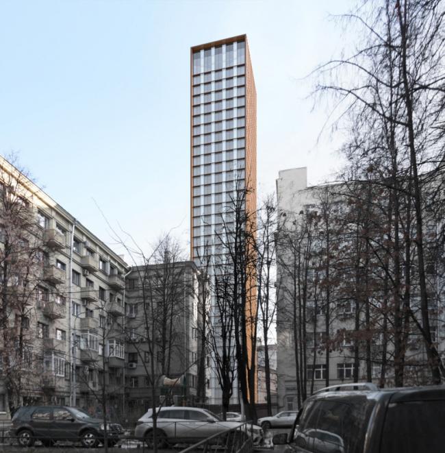 Многофункциональный комплекс на Мясницкой улице. Вид 6 с Уланского переулка