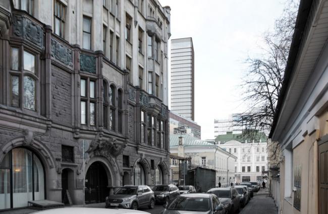 Многофункциональный комплекс на Мясницкой улице. Вид 15 с Малого Харитоньевского переулка