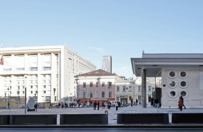 Многофункциональный комплекс на Мясницкой улице. Вид 17 от станции метро «Чистые пруды»