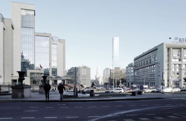 Многофункциональный комплекс на Мясницкой улице. Вид 1 с проспекта Академика Сахарова. Вариант 150 м