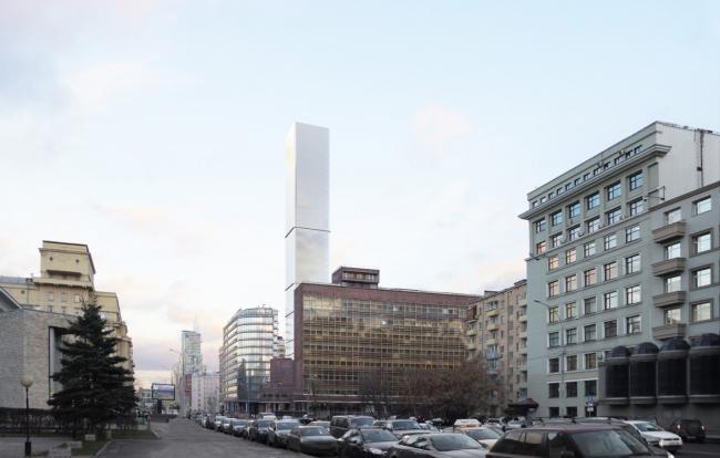 Многофункциональный комплекс на Мясницкой улице. Вид 2 с проспекта Академика Сахарова. Вариант 140 м